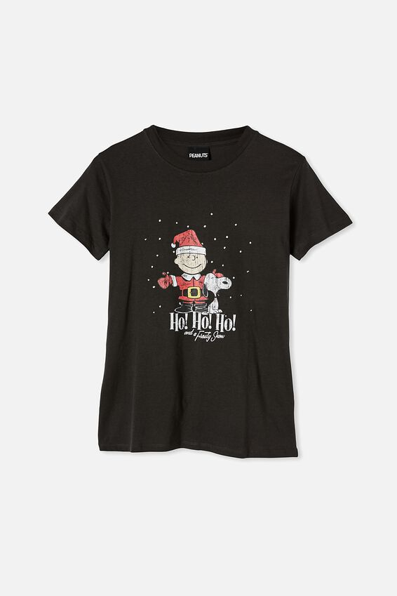 Classic Christmas License T Shirt, LCN PEA PEANUTS FROSTY SNOW/WASHED BLACK