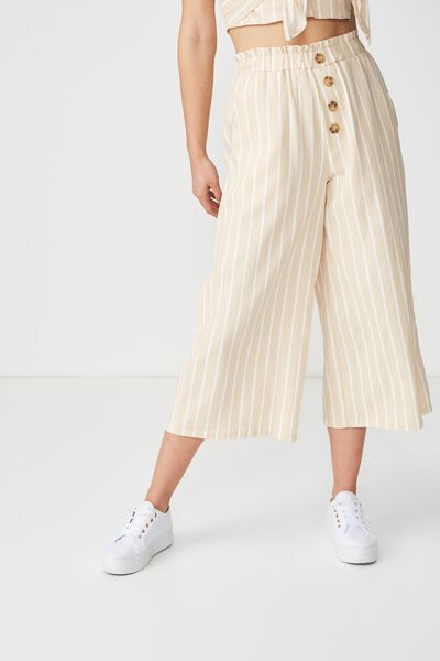 High Waist Culotte, KAYLA OAT WHITE BUTTON