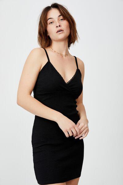 Darla Lace Cross Front Mini Dress, BLACK