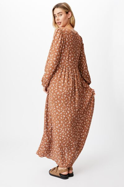Woven Kimberly Babydoll Long Sleeve Maxi Dress, RIDDLE DITSY LEAF BROWN