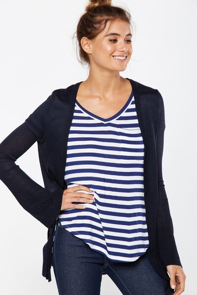 Paige Flare Sleeve Fashion Cardigan, NAVY MARLE