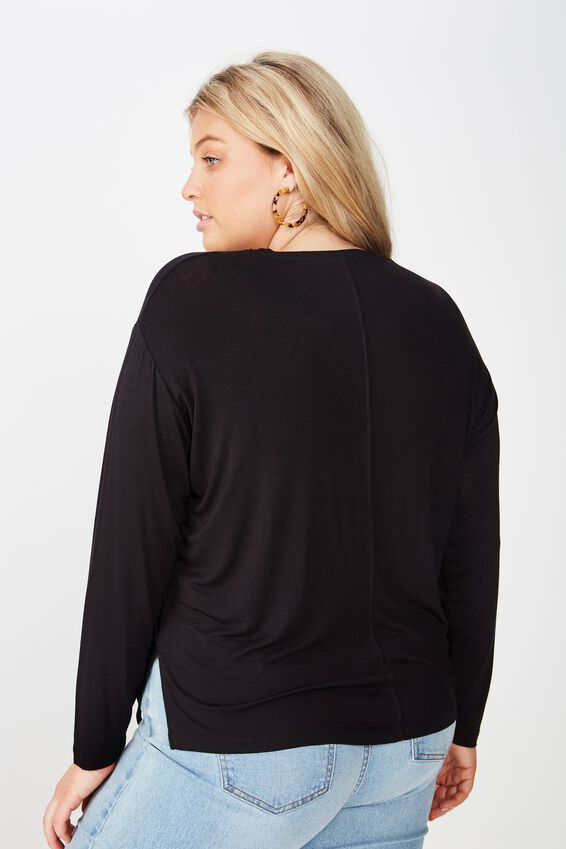 Curve Ruched Front Long Sleeve, BLACK