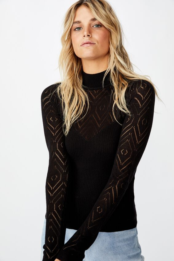Pointelle Mock Neck, BLACK