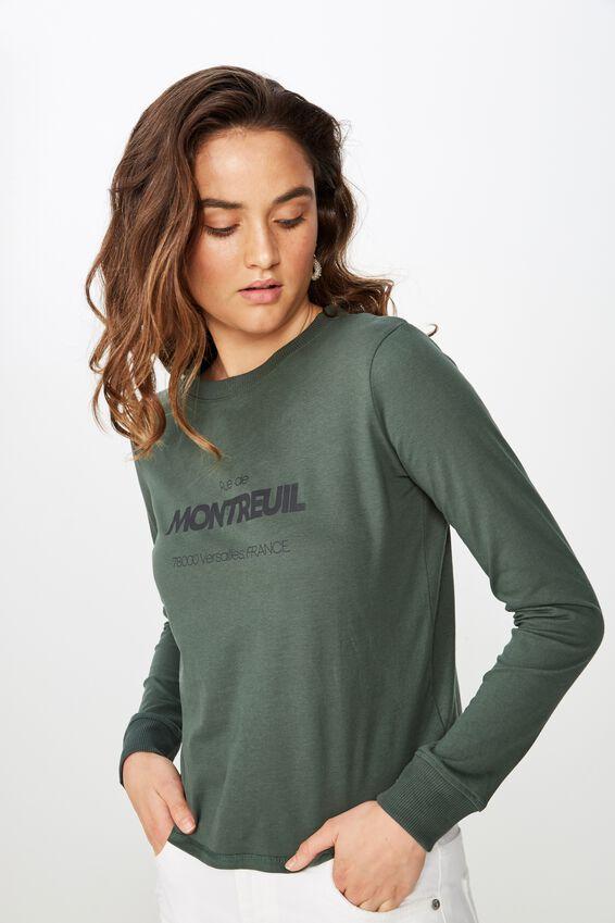 Classic Slogan Long Sleeve T Shirt, MONTREUIL/JUNGLE GREEN