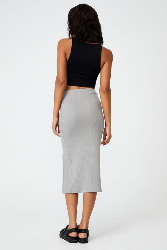 Essential Split Midi Skirt, ZODIAC GREY