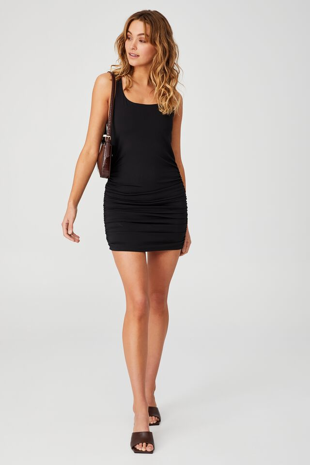 Day To Night Bodycon Ruched Mini Dress, BLACK