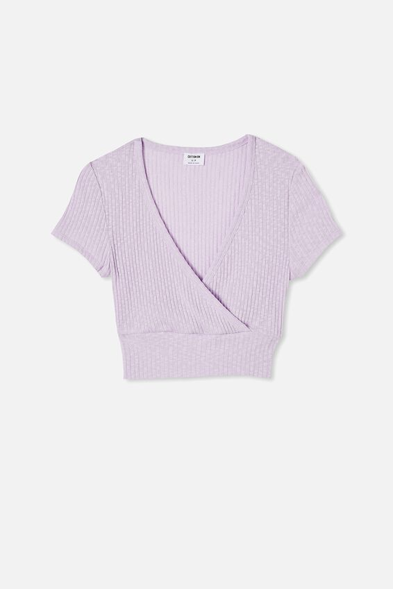 Tonya V Cross Over Short Sleeve Top, SOFT FROSTY LILAC