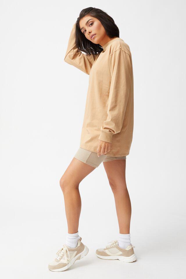Basic Oversized Long Sleeve Top, CARAMEL BROWN