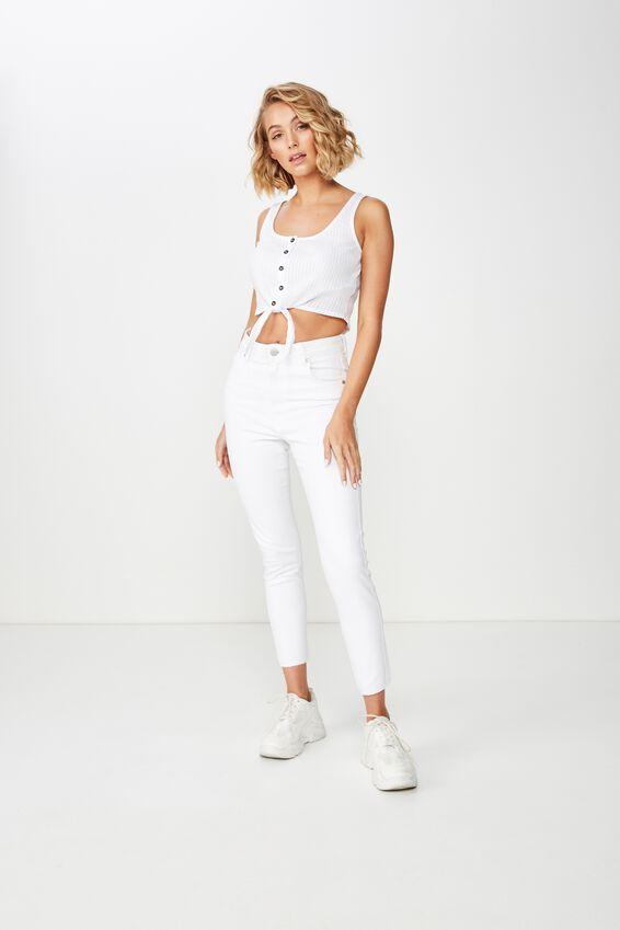 High Rise Grazer Skinny Jean, CLEAN WHITE