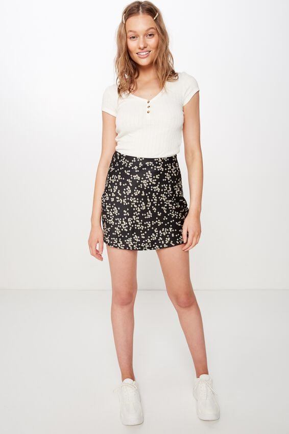 Woven Betty Bias Mini Skirt, ALICE DITSY BLACK