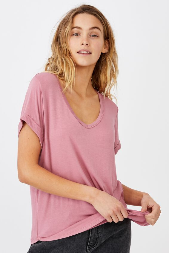 Karly Short Sleeve V Neck Top, DARK MAUVE