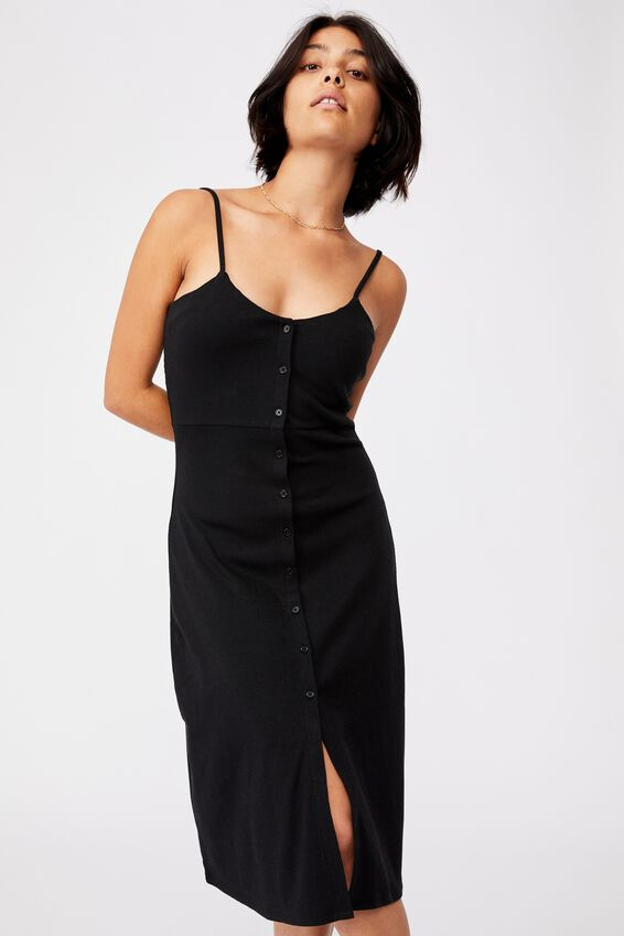 Jillian Button Through Midi Dress, BLACK