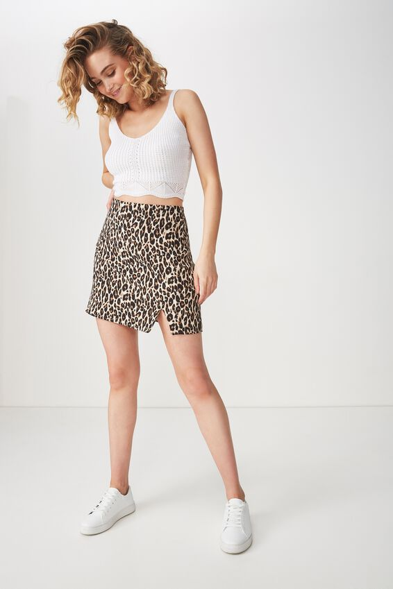 Woven Casual Mini Skirt, LEOPARD PRINT