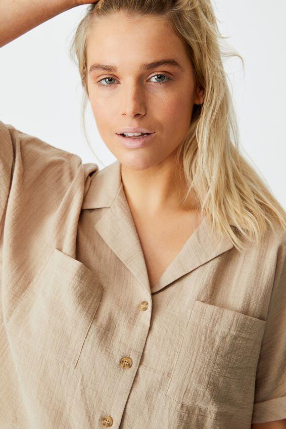 Erika Short Sleeve Shirt, FLAX GREY