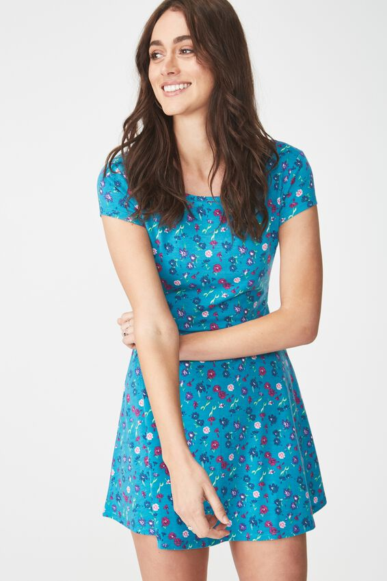 Billie Cap Sleeve Skater Dress, DAISY MULTI TEAL