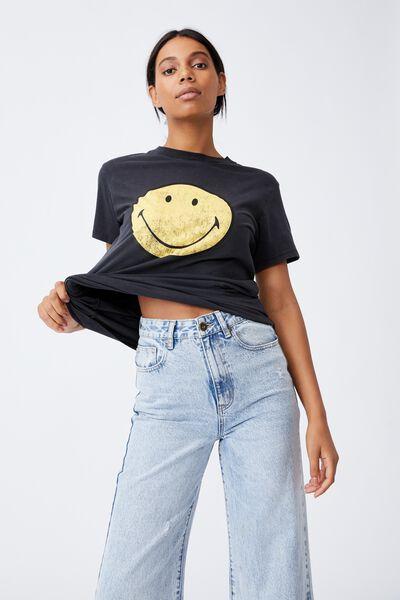 Classic Pop Culture T Shirt, LCN SMI CLASSIC SMILEY/BLACK