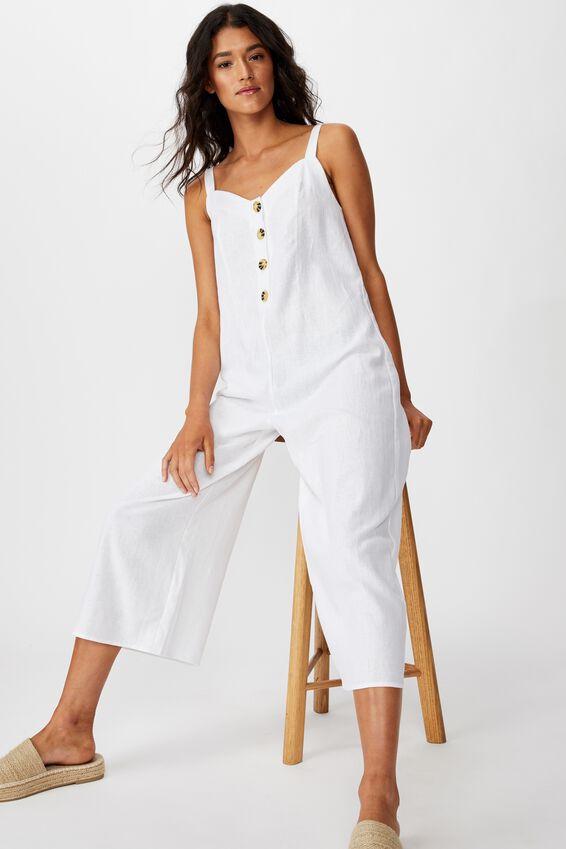 Woven Ada Strappy Jumpsuit, WHITE
