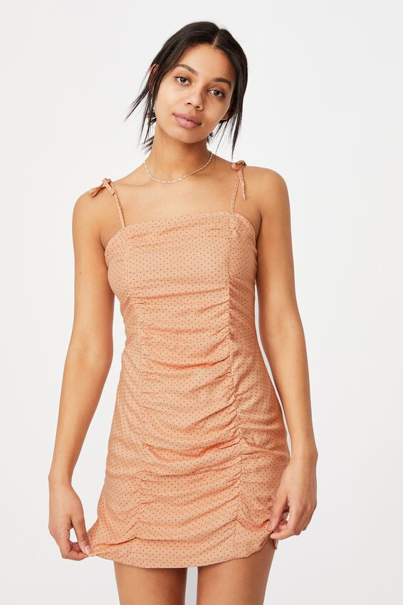 Woven Holly Ruched Strappy Mini Dress, TIFFANY SPOT EVENING SAND