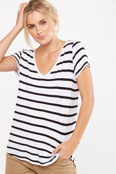 Keira Short Sleeve V-Neck T Shirt, JACK STRIPE WHITE/BLACK