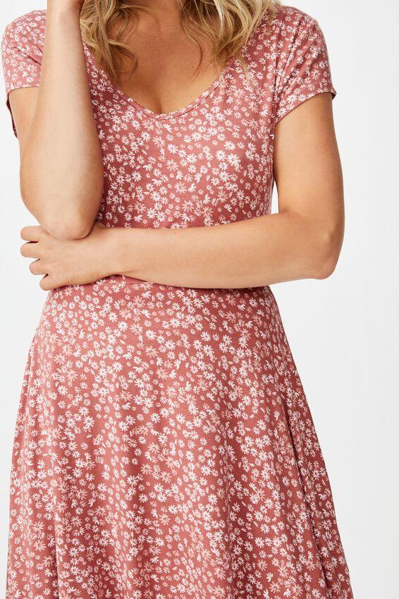 Becky Tie Back Mini Tea Dress, FRANKIE DITSY CANYON ROSE