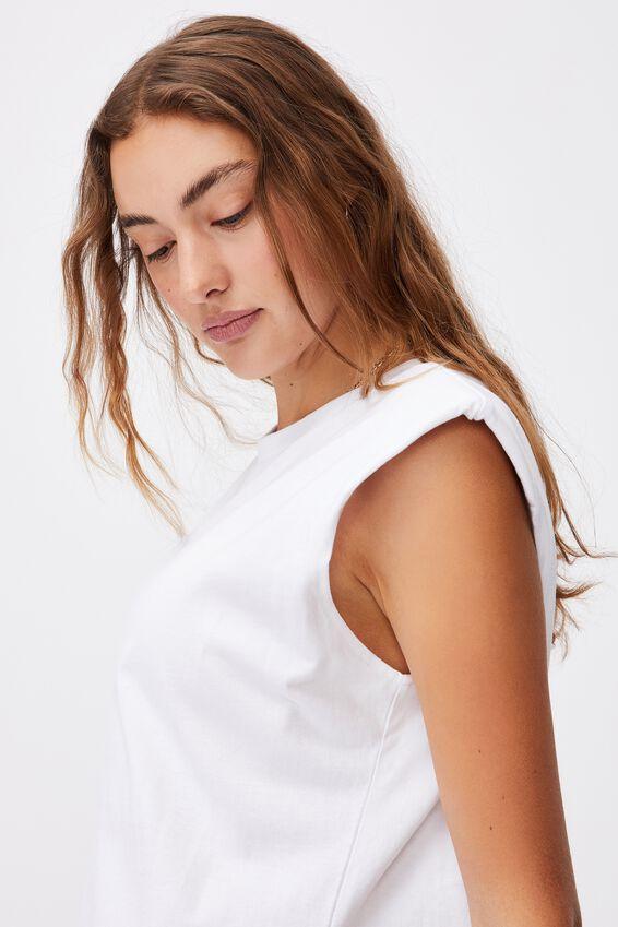 Lew Muscle Tank Mini Dress, WHITE