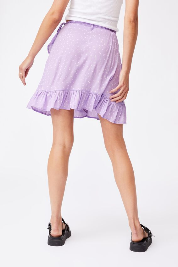 Naomi Frill Wrap Mini Skirt, BELLA FLORAL LILAC BLOSSOM