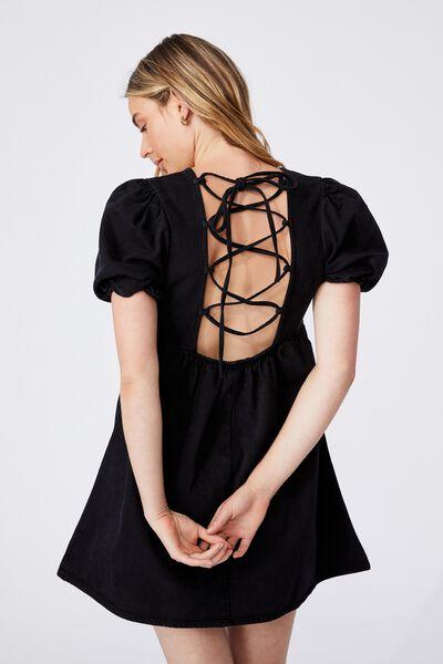 Denim Open Back Babydoll Mini Dress, BLACK