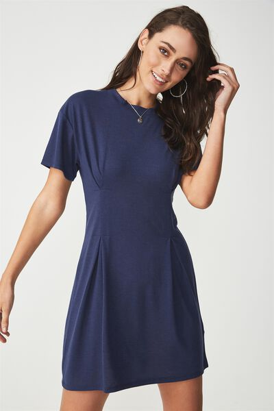 Tory Waisted Detail Tshirt Dress, SPACE NAVY