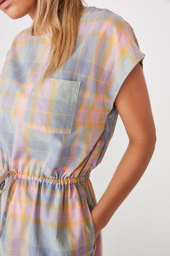 Woven Christine Check Playsuit, KRISTEN CHECK ABYSS