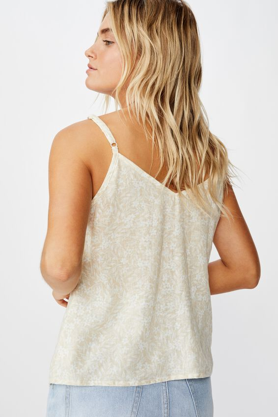 Amy V Neck Cami With Buttons, TILLY MINI FLORAL PARCHMENT