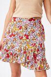 Naomi Frill Wrap Mini Skirt, ELLIE FLORAL MULTI