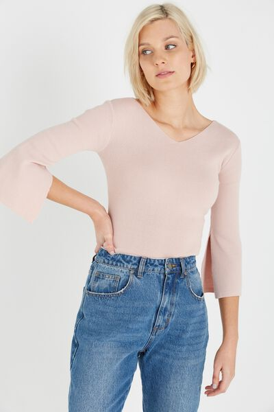 Alana Flared Sleeve Pullover, NUDE PINK