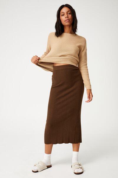 Ultimate Knit Midi Skirt, BROWN
