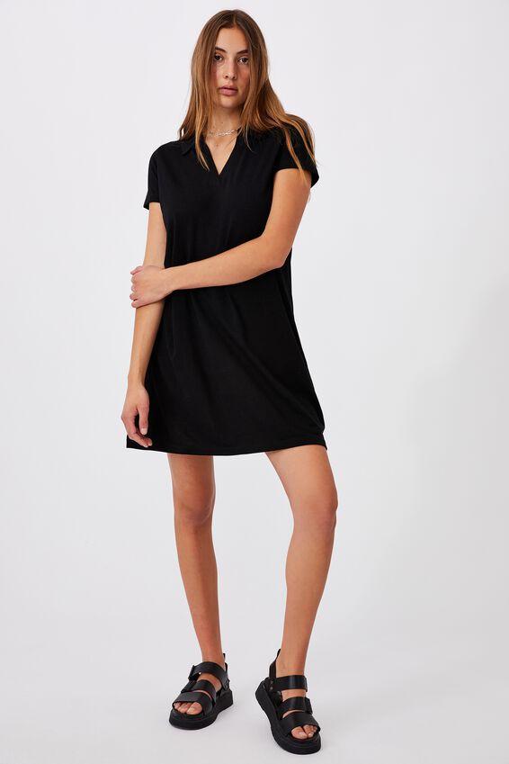 Tina Polo Tshirt Dress, BLACK