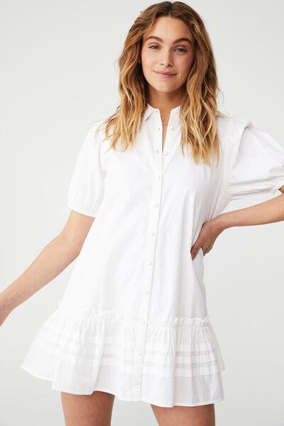 Woven Petite Rosie Mini Dress, WHITE