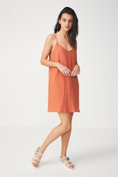 Woven Margot Slip Dress, MAHOGANY-C