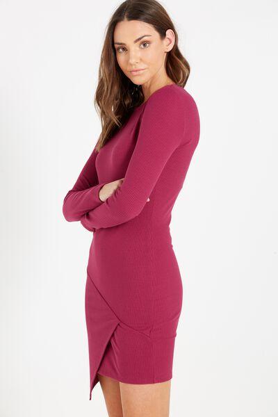Riley Long Sleeve Assymetric Bodycon Dress, DARK PLUM