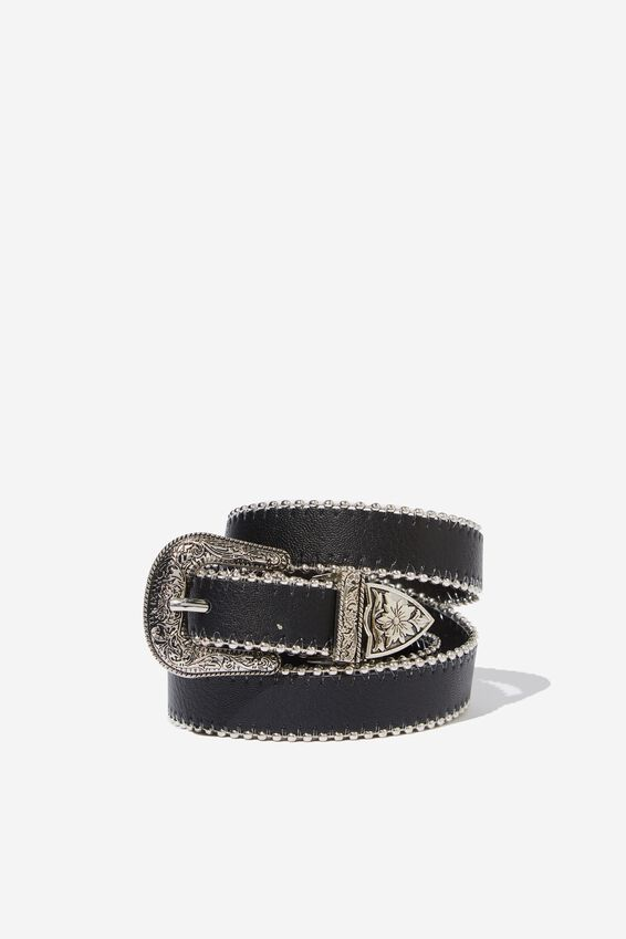 Curve Western Studded Belt, BLACK