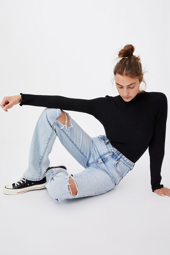 Leona Lettuce Long Sleeve Top, BLACK