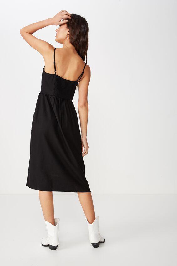 Woven Beth Button Front Midi Dress, BLACK