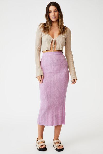 Ultimate Knit Midi Skirt, LILAC BLOOM MARLE