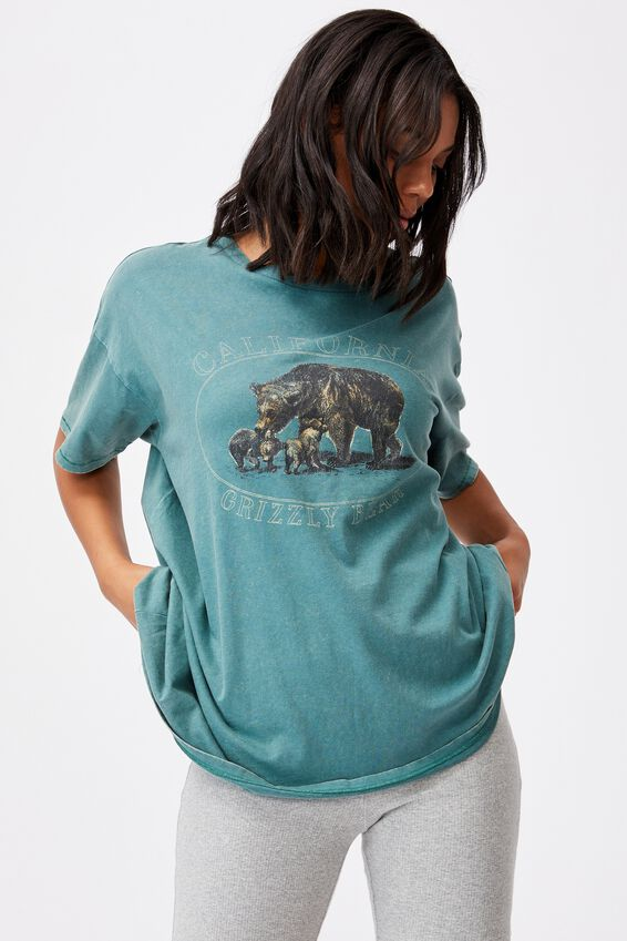Oversized Graphic T Shirt Dress, CALIFORNIA GRIZZLY BEAR/VINTAGE GREEN