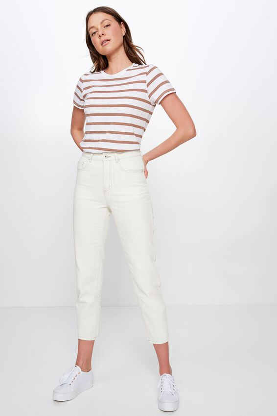 The Crew T Shirt, CORY STRIPE WHITE/BROWNIE MARLE