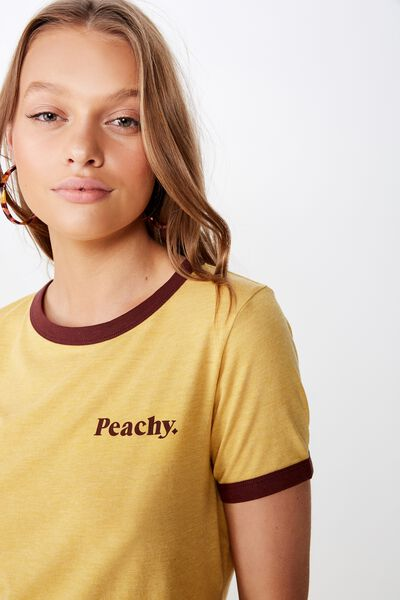 Tbar Remi Graphic Ringer Tee, PEACHY/TAWNY OLIVE/CHOCOLATE