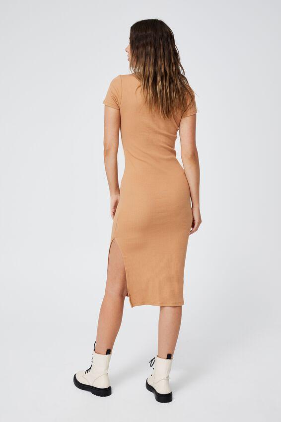 Essential Split Short Sleeve Midi Dress, LINEN TAUPE