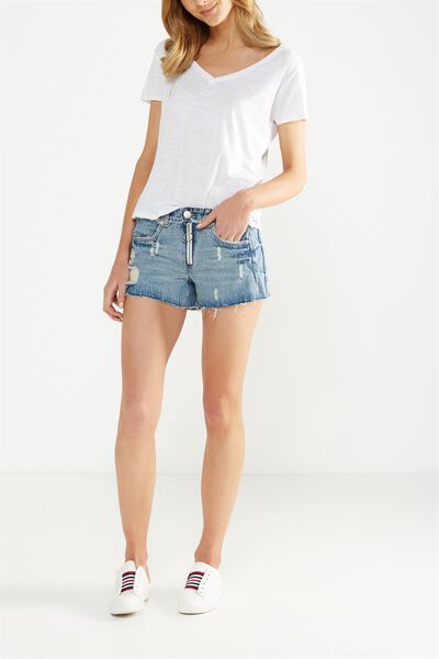 Mid Rise Saturday Denim Short, REWORKED ZIPPER BLUE