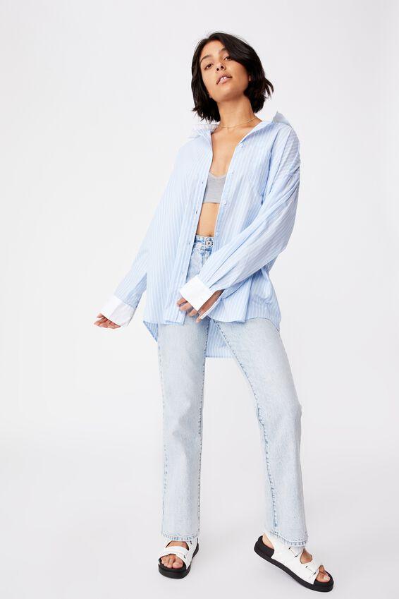 Dad Shirt, LEILA STRIPE AUTHENTIC BLUE