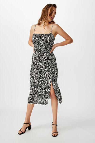 Woven Melody Strappy Midi Dress, TAYLAH DITSY PIRATE BLACK