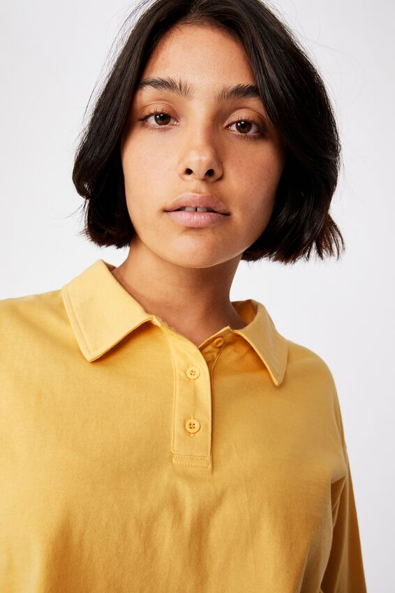 Ryan Long Sleeve Polo, GOLDEN HOUR YELLOW