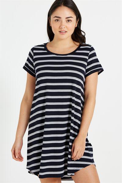Tina Tshirt Dress 2, DEEPEST NAVY/WHITE/PINK LADY STRIPE ANN STRIPE